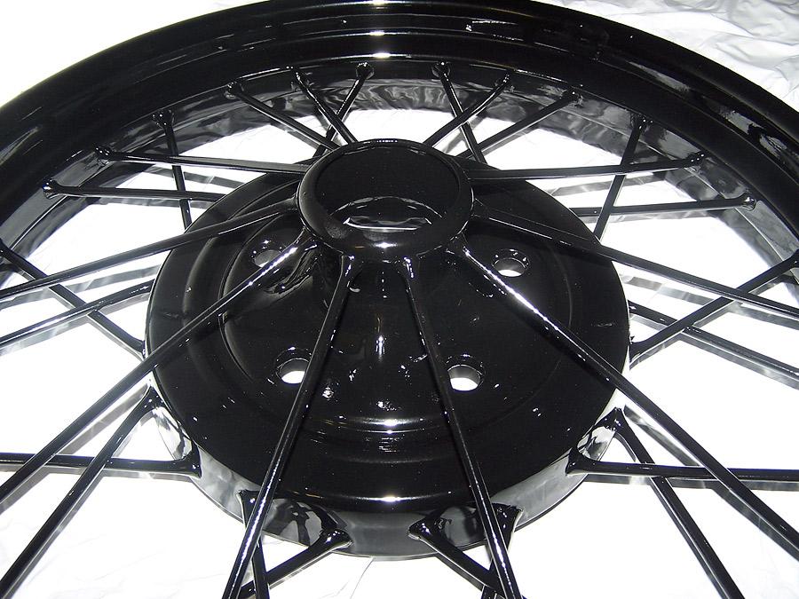 Black powder coated wire wheel
