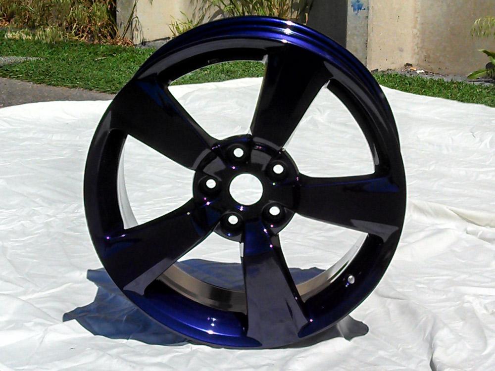 Blue metallic powder coated rim