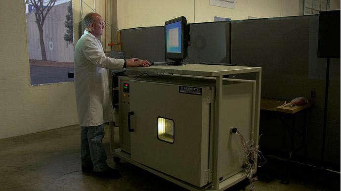Mile High Powder Coating QA checks display humidity testing chamber